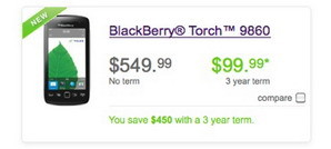 Telus BB Torch 9860 now available