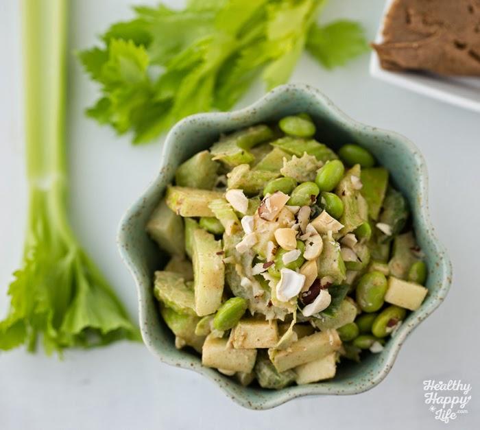 Celery Apple Edamame Peanut Butter Salad