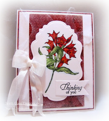 North Coast Creations Stamp sets: Floral Sentiments 8, Our Daily Bread Designs Custom Dies: Flourished Star Pattern, Vintage Labels, Pennant