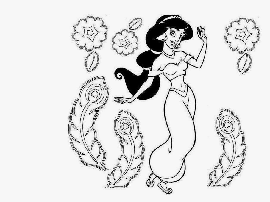 Disney Jasmine Princess Coloring Drawing Free wallpaper
