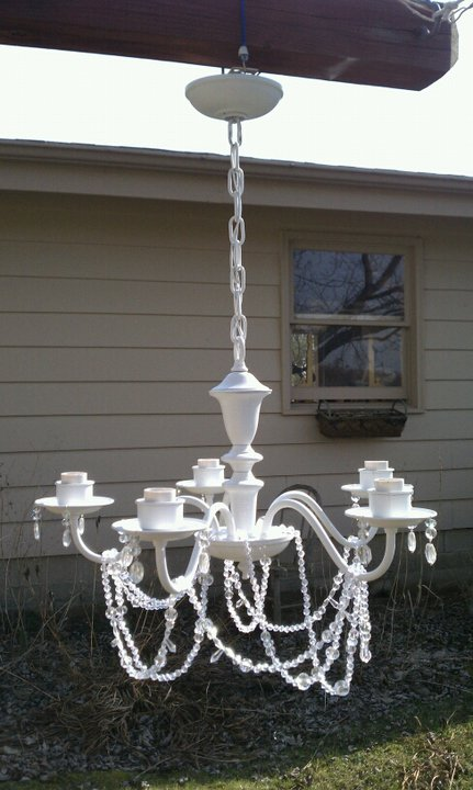why buy when you can diy shabby chic chandelier. Black Bedroom Furniture Sets. Home Design Ideas
