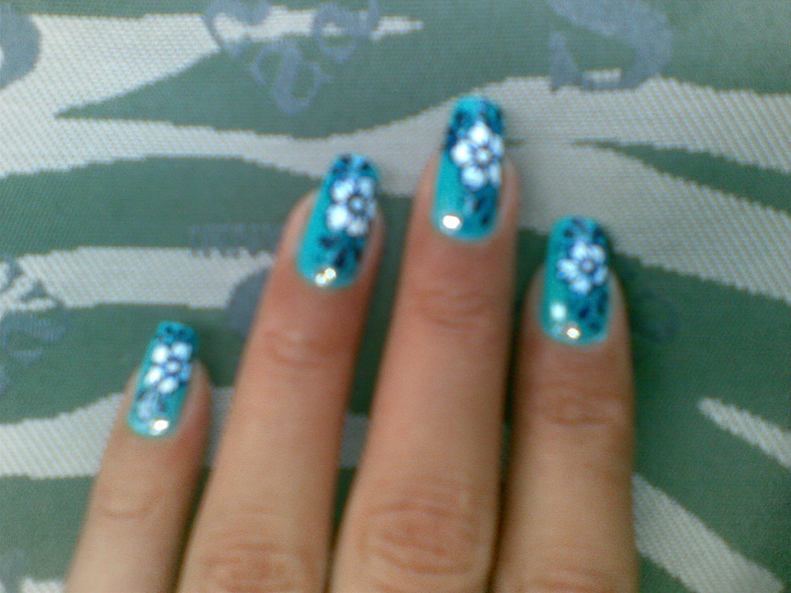 Blue Bead Nail Art Design