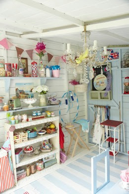 Aplaceimagined pretty playhouse interior for Beach hut decoration items