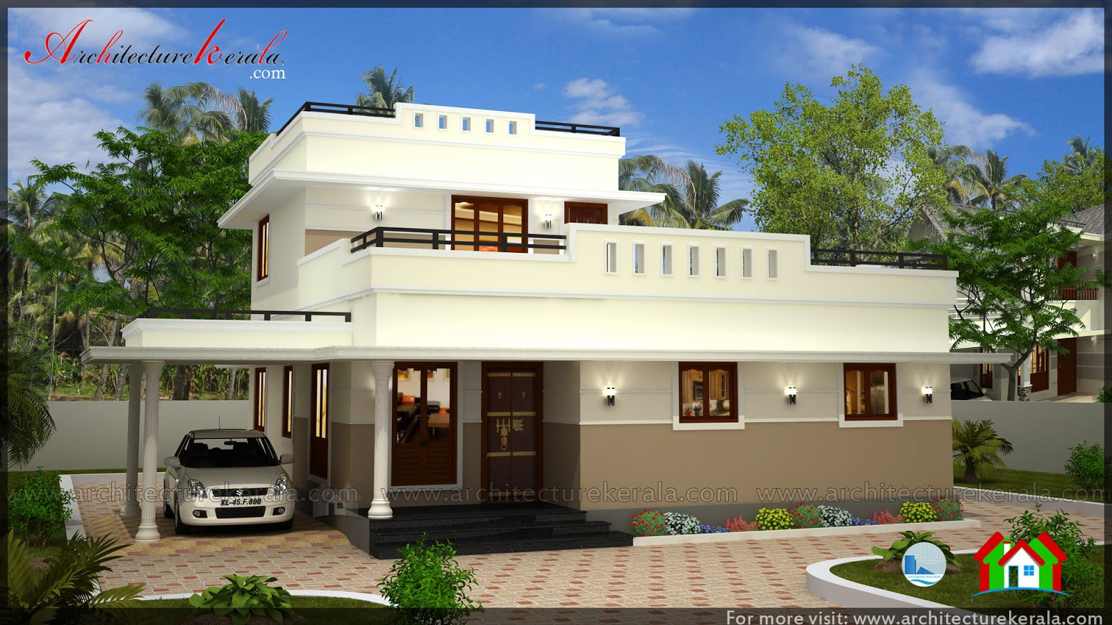 1600 square feet house plan and elevation architecture for Cost to build 2000 sq ft house