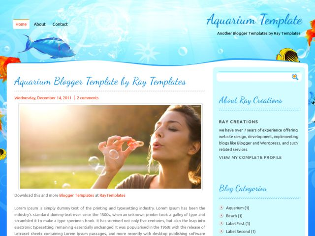 Aquarium Blogger Template