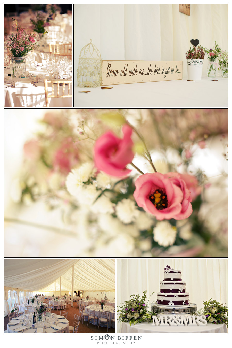 Wedding detail shots in the marquee - Simon Biffen Photography