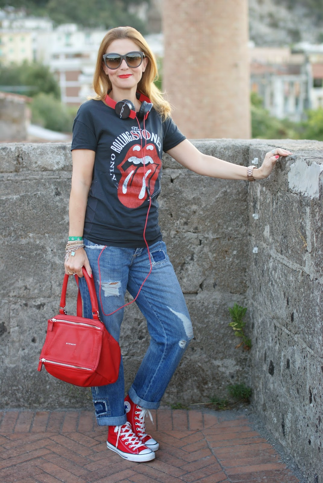 Rolling Stones mouth t-shirt, red converse sneakers, Sol Republic headphones, Fashion and Cookies, fashion blogger