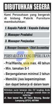 Lowongan Kerja Pabrik Furniture Lampung 2015