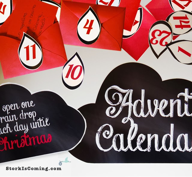 DIY cloud and rain drops christmas countdown calendar