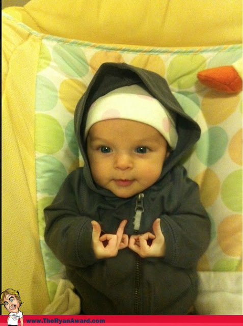 Baby Sports Blood Gang sign