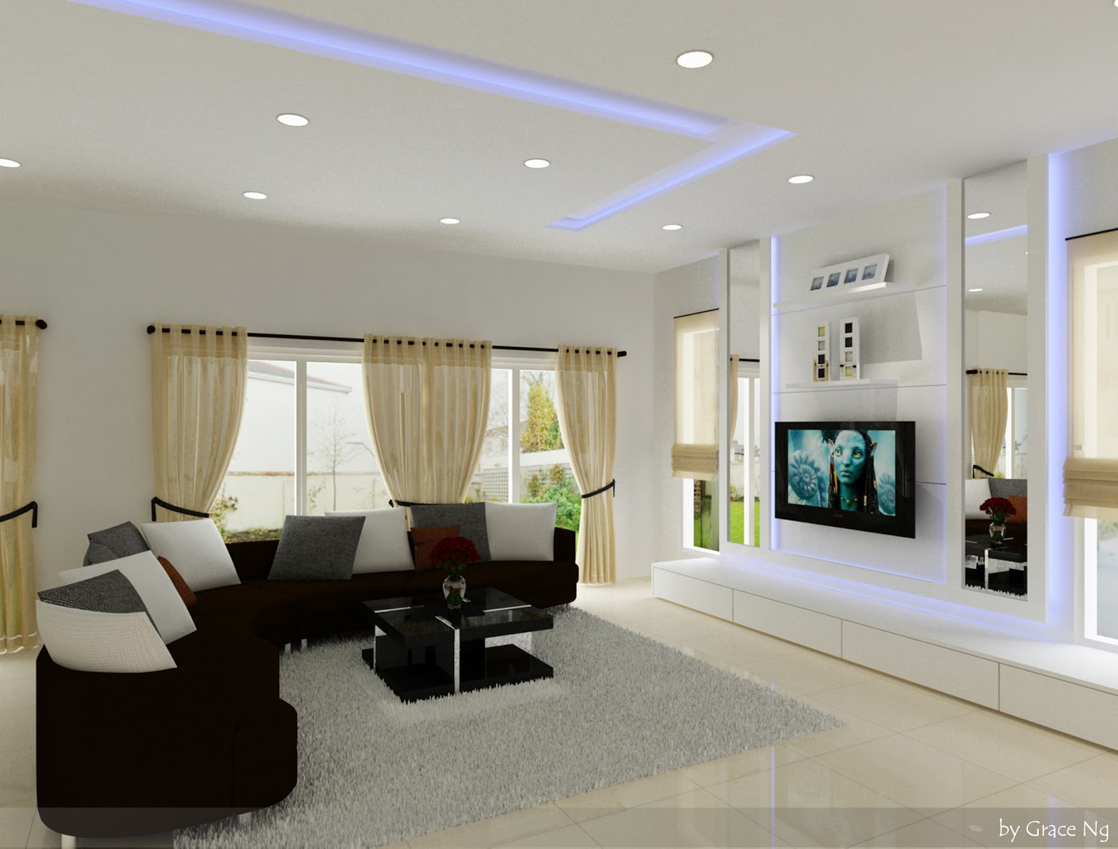 Interior 3d visualized design proposed interior for Living area interior design