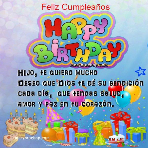 Frases con Tarjeta de Feliz Cumpleaños para mi Hijo | Entre Poemas ...