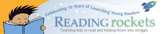 The banner from the Reading Rockets website. A young boy reads a book to the left. Across the top a rocket is flying among some stars. Under the trail from the rocket it says celebrating ten years of launching young readers. Below it says Reading rockets. Below that are the words teaching kids to read and helping those who struggle.