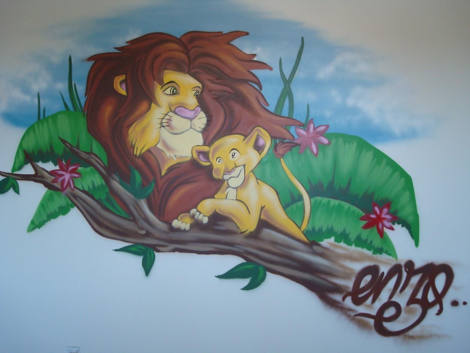 creation d'une chambre d'enfant le roi lion  graffeur pro