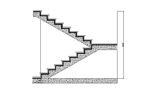 Escalera de ida y vuelta de dos tramos con meseta for Planos de escaleras en u