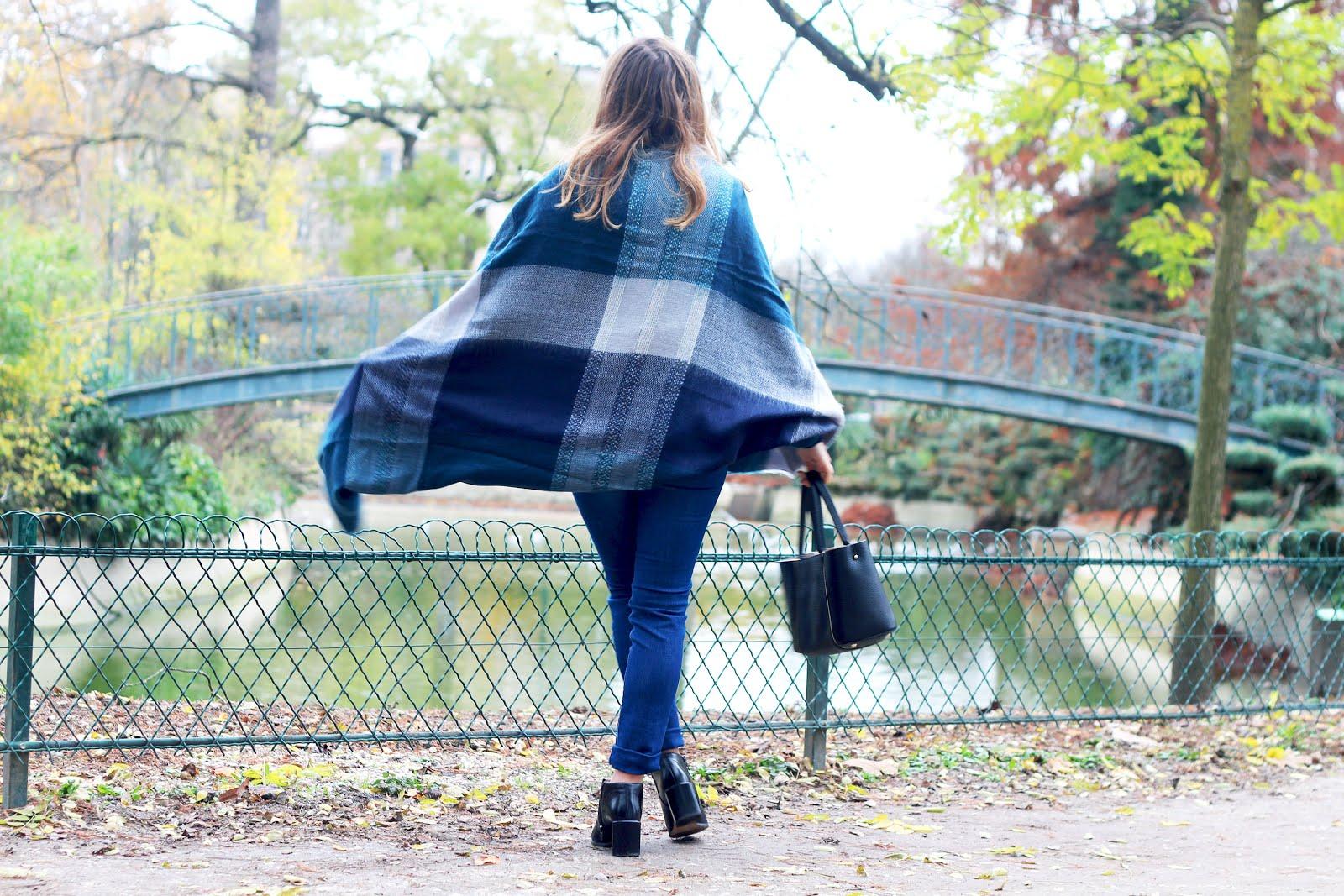écharpe plaid carreaux bleus