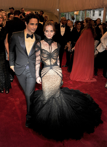 "Christina Ricci in a gothic look wearing a stunning spiderweb inspired black-and-nude lace Zac Posen mermaid gown at the ""Alexander McQueen: Savage Beauty"" Costume Institute Gala held at The Metropolitan Museum of Art on May 2, 2011 in New York City. (MET Gala 2011)"