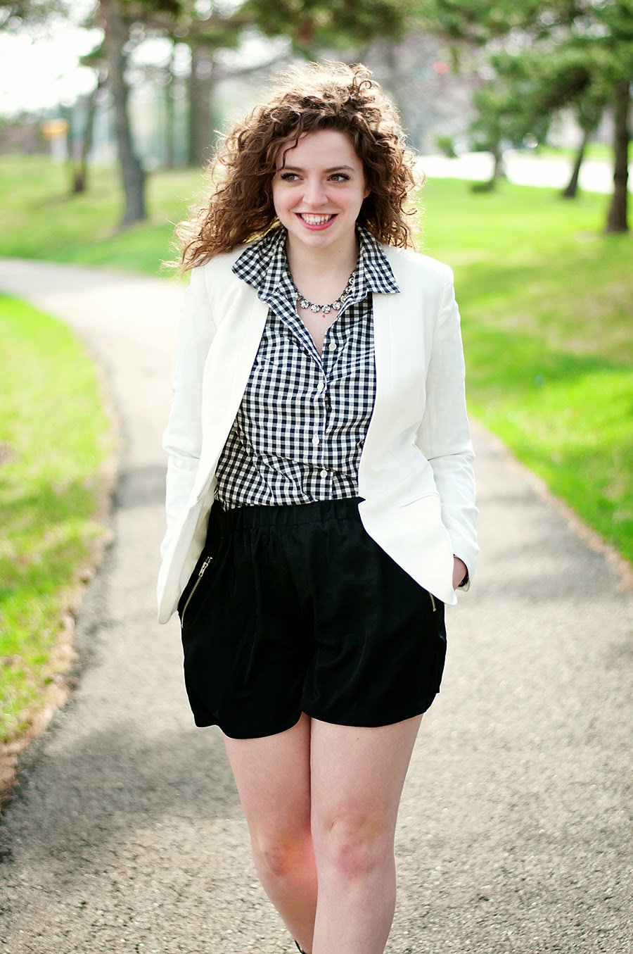 Silk shorts with blazer for spring