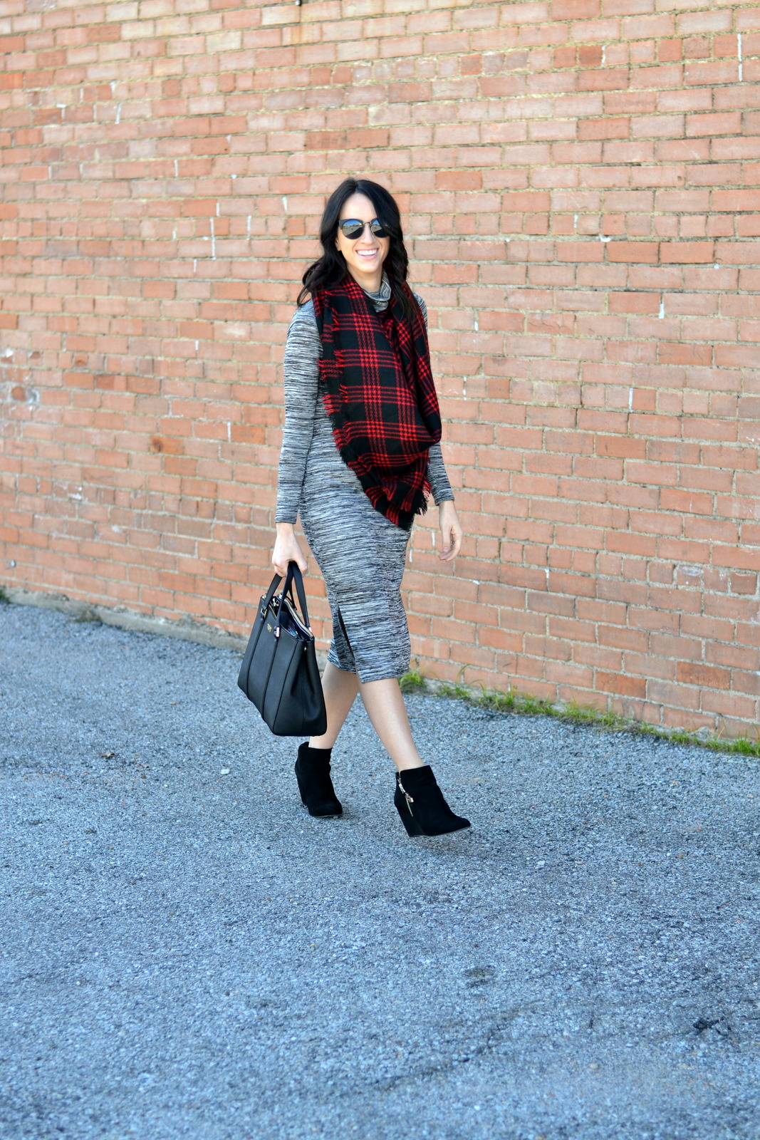 Midi Dress, Buffalo Plaid, Blanket Scarf