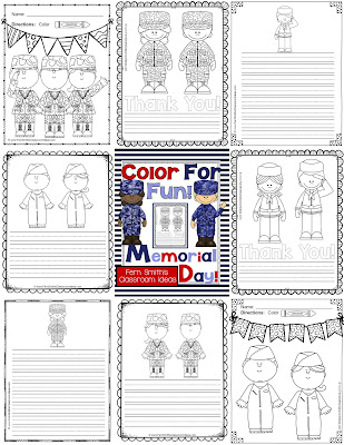 Fern Smith's Classroom Ideas Memorial Day Color For Fun Freebie Thank You Gift!