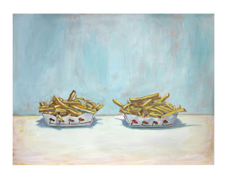 french fry painting, junk food art, in-n-out burrger fries, still life