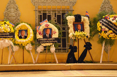Return of body of King Norodom Sihanouk, cwreathes, Phnom Penh, Cambodia