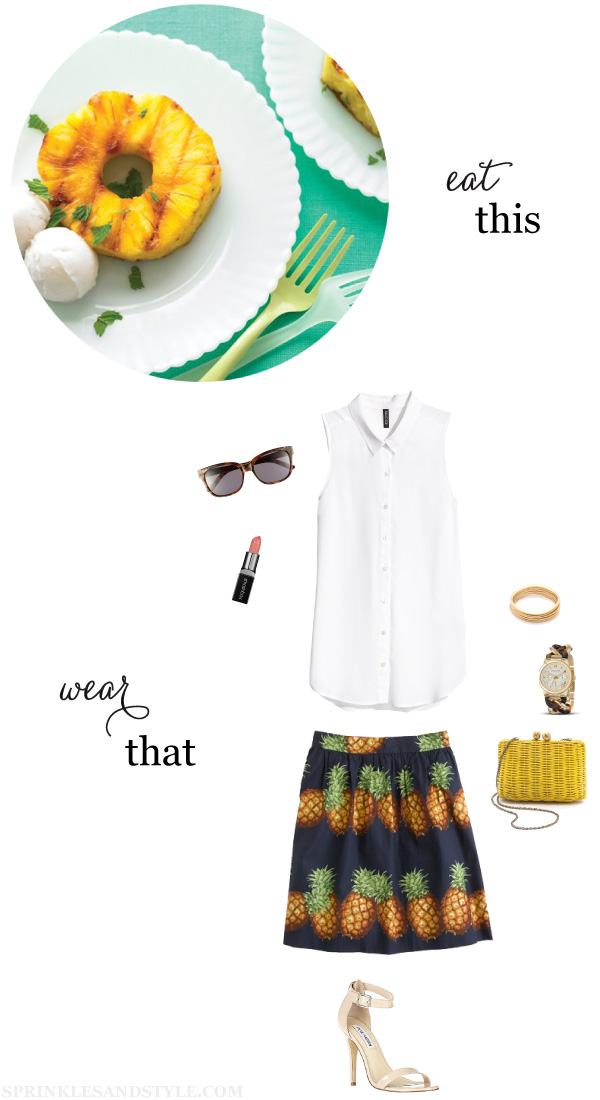 Sprinkles and Style || Eat This, Wear That: Grilled Pineapple and Coconut Sorbet, J. Crew Pineapple, RAEN Sunglasses, Michael Kors Link Watch, H&M Blouse, Steve Madden Realove, Smashbox Be Legendary Lipstick Posy Pink, Serpui Marie Pic Nic Wicker Minaudiere, Jules Smith Bangles