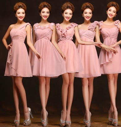 NEW Fabulous Five-Design Pink Bridesmaids Midi Dress