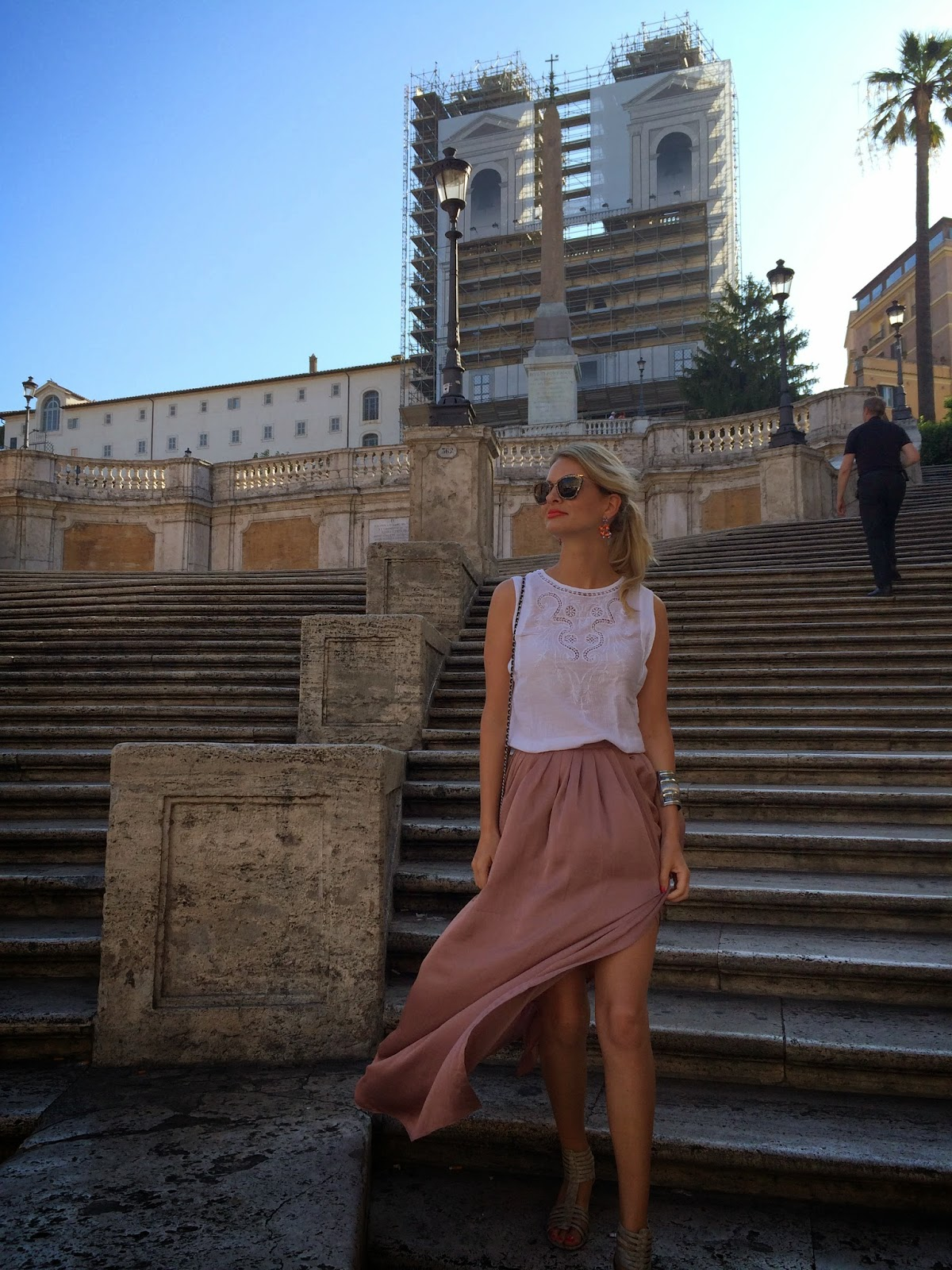 spanish steps, piazza di spagna, asos soft split maxi skirt, spanish place, maxi skirt, asos, asos skirt, miu miu sunglasses, look book, outfit of the day, rome, summer holiday look, summer outfit