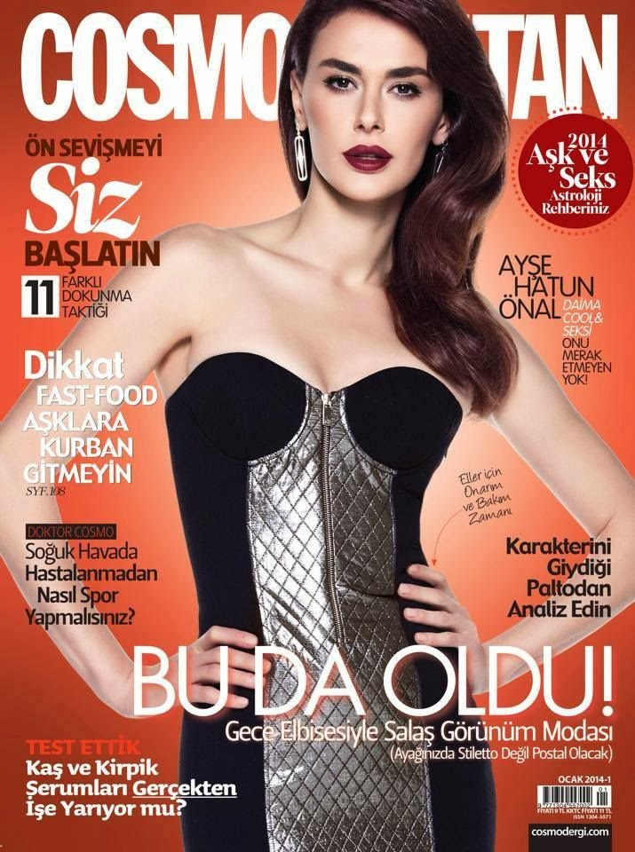 Magazine Cover : Ayse Hatun Onal Magazine Photoshoot Pics on Cosmopolitan Magazine Turkey January 2014