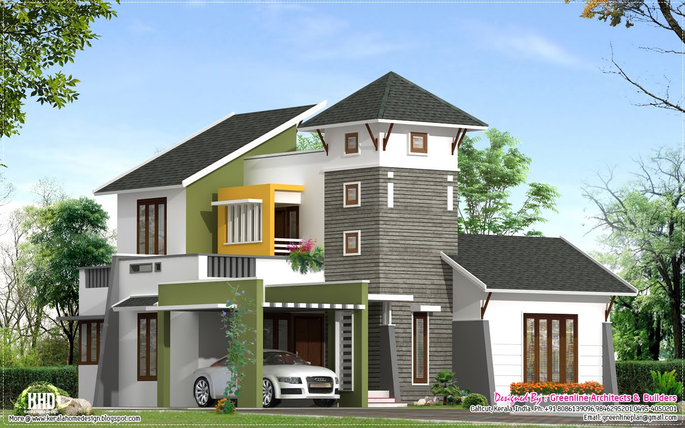 Unique 2220 villa elevation kerala home design for Interesting house designs