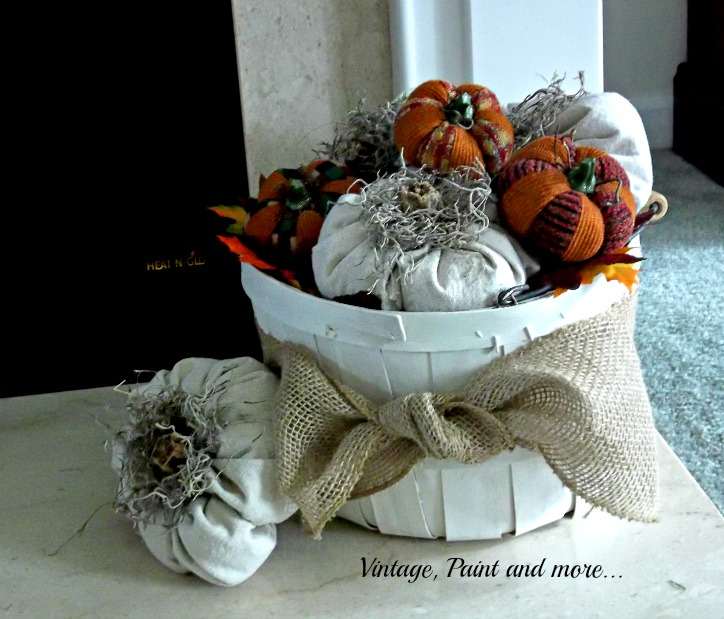 Vintage, Paint and more... pumkins made from drop cloth in old white basket with burlap ribbon