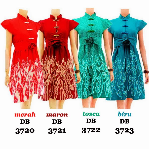 DB3720-3723 Mode Baju Dress Batik Modern Terbaru 2014