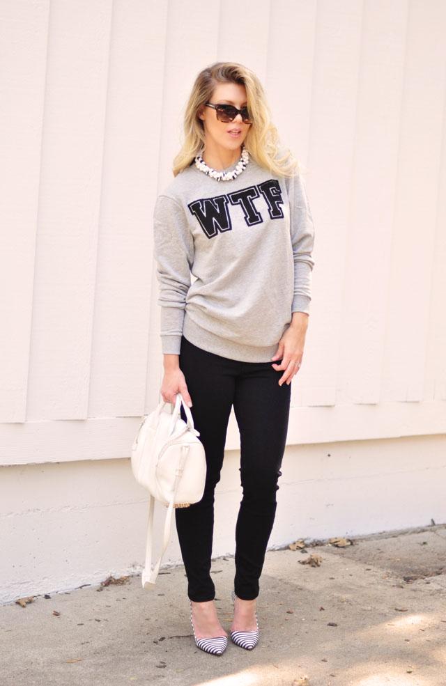 WTF Sweatshirt, black jeans