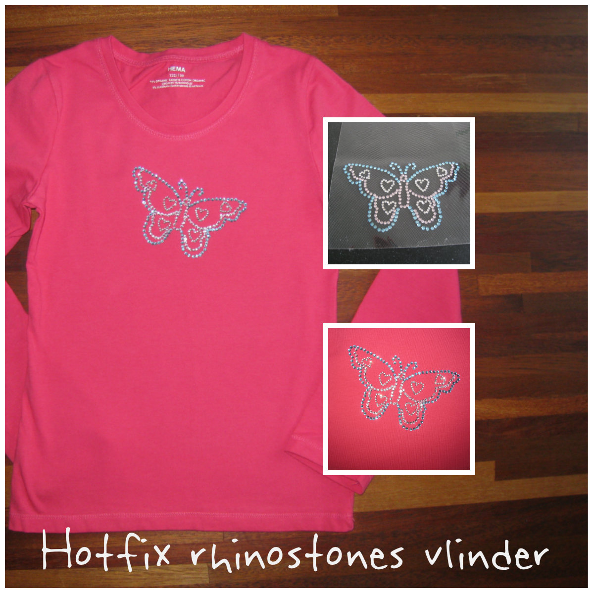 Eigen gemaakte vlinder applicatie van hotfix rhinostones startpakket van MaMarieke.