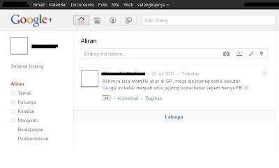 Gambar Screenshot Halaman Google Plus