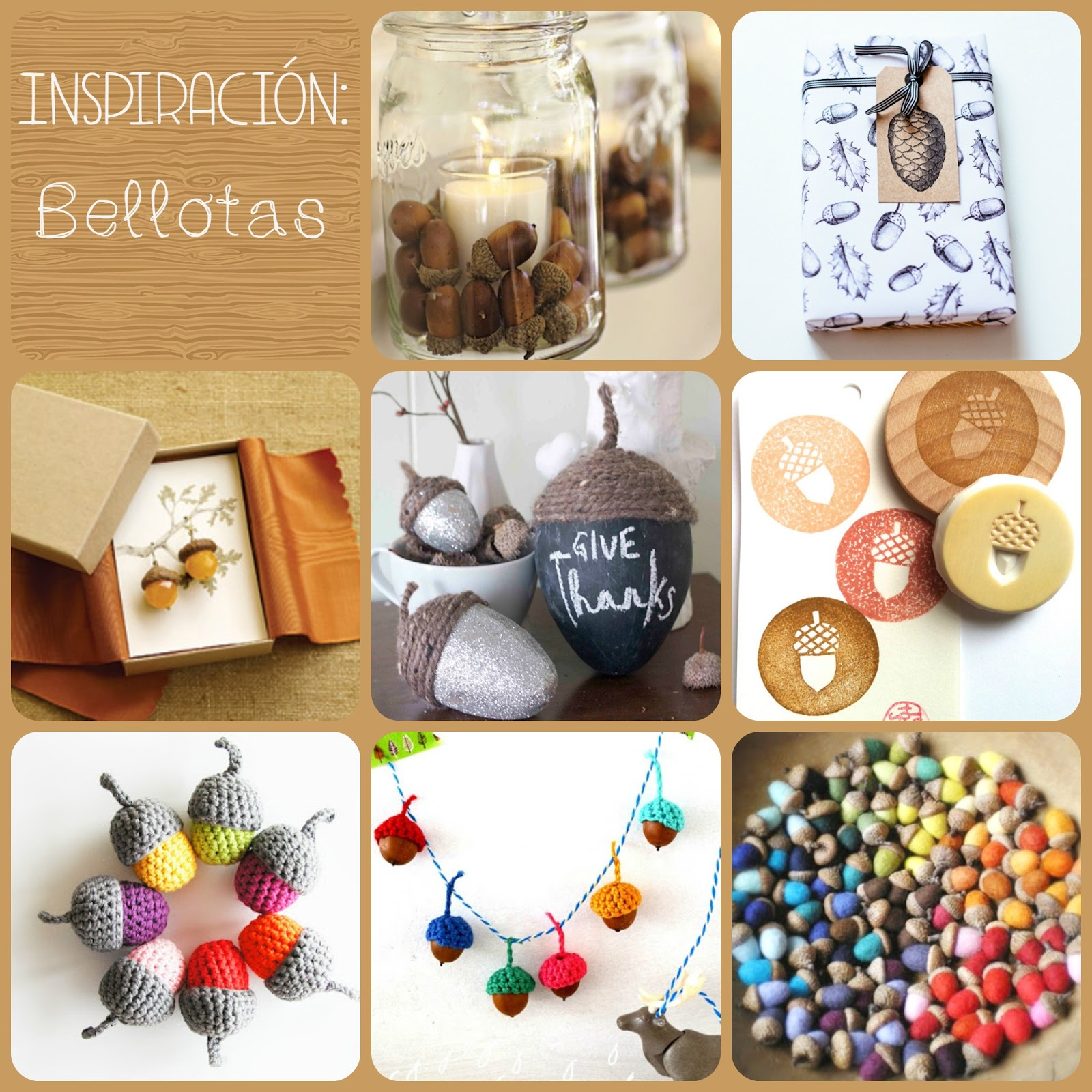 Ideas con bellotas diy