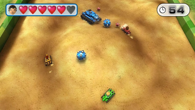 Screenshot of tanks in video game Wii Party U