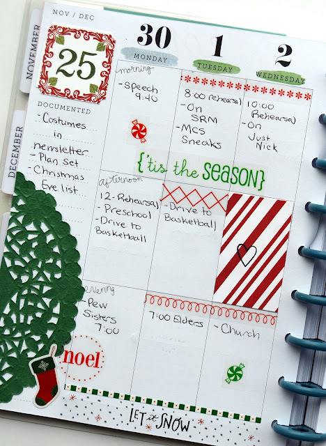 SRM Stickers Blog - December Planner Pages by Christine  -  #planner #december #stickers #christmas #borders #doilies #stitches #clearstamps #janesdoodles #borders #sentiments