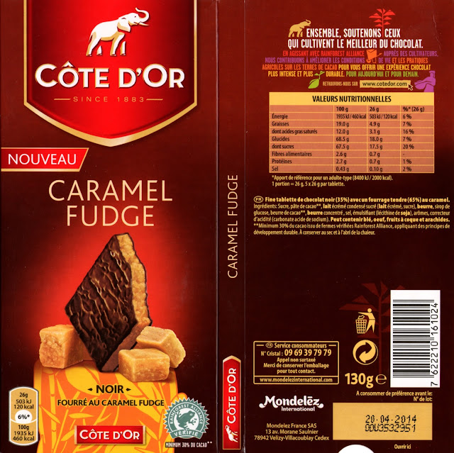 tablette de chocolat noir fourré côte d'or caramel fudge