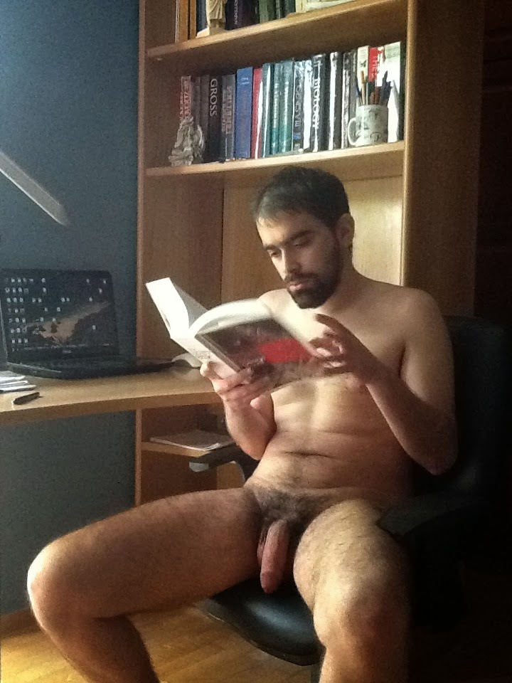 reading book guy Naked