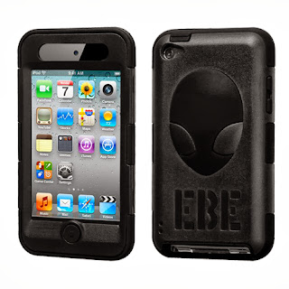 Hybrid Plastic Silicone Black Alien Snap On Case For Apple iPod Touch 4th Gen