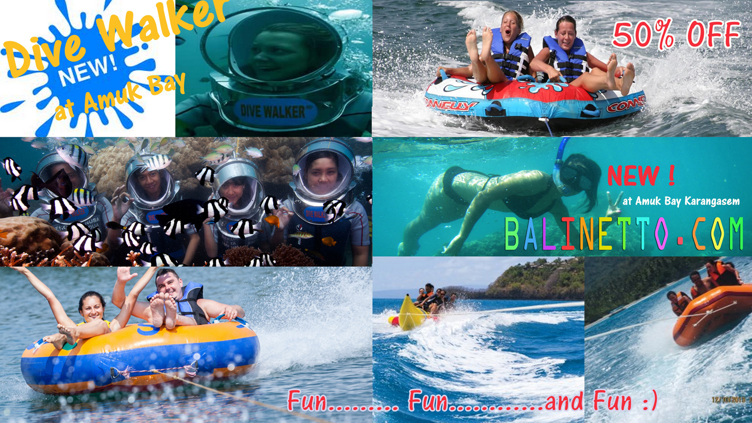 Balinetto Tiket Voucher Donat Boat Watersport Tanjung Benoa Bali New Promo Seawalker At Amuk Bay Karangasem Discount 50