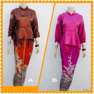 model baju batik muslim gamis modern pink