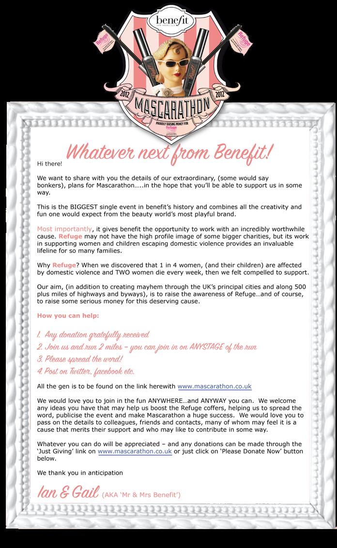 The Benefit and Refuge Mascarathon