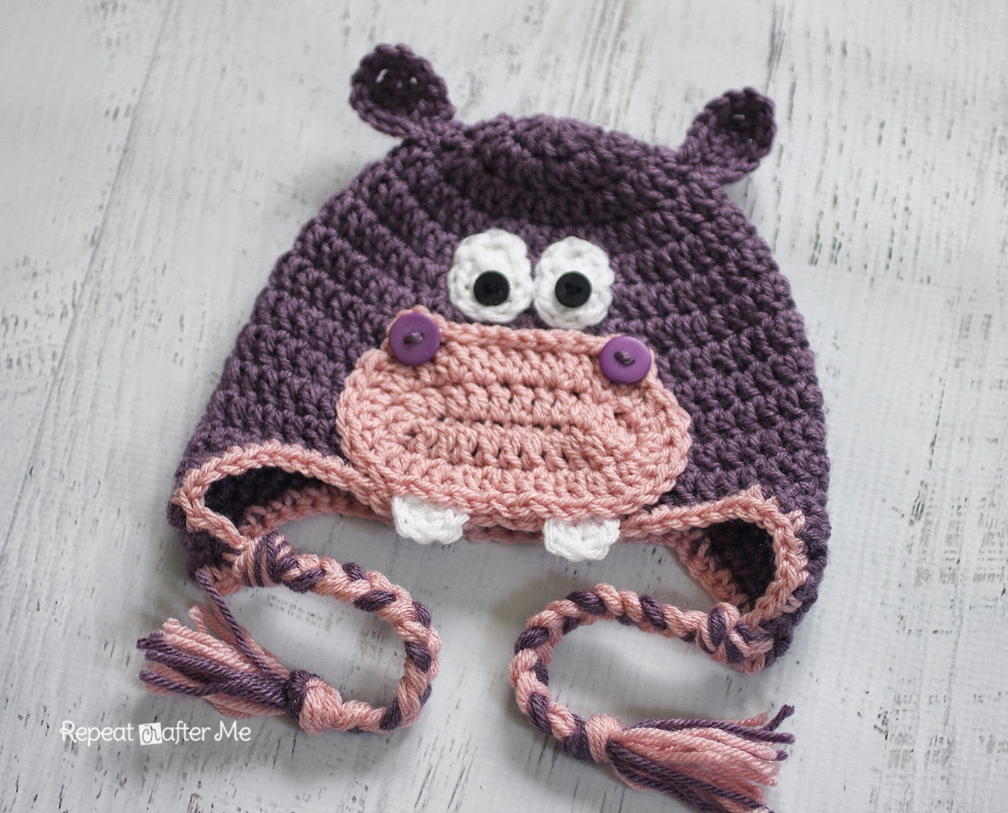 Crochet Pattern Free Hippo : Repeat Crafter Me: Crochet Hippo Hat Pattern