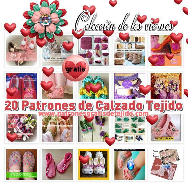 20 patrones y tutoriales de calzados tejidos en crochet y dos agujas ...
