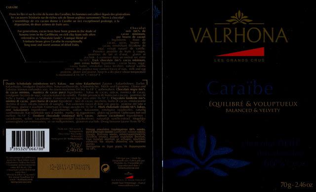 tablette de chocolat noir dégustation valrhona les grands crus caraïbe 66