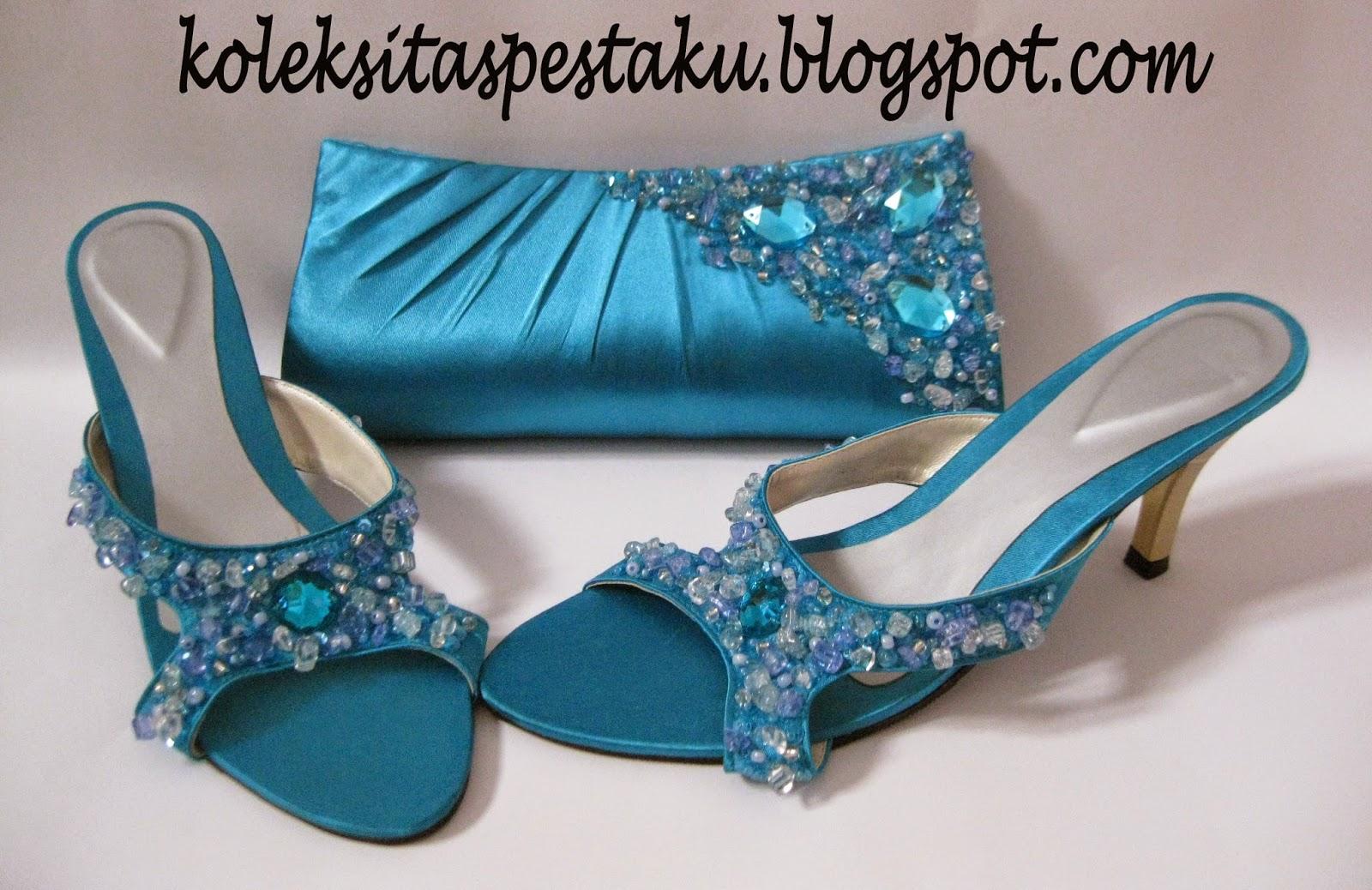 Tas Pesta Biru Tosca Unik Elegant dan Sepatu