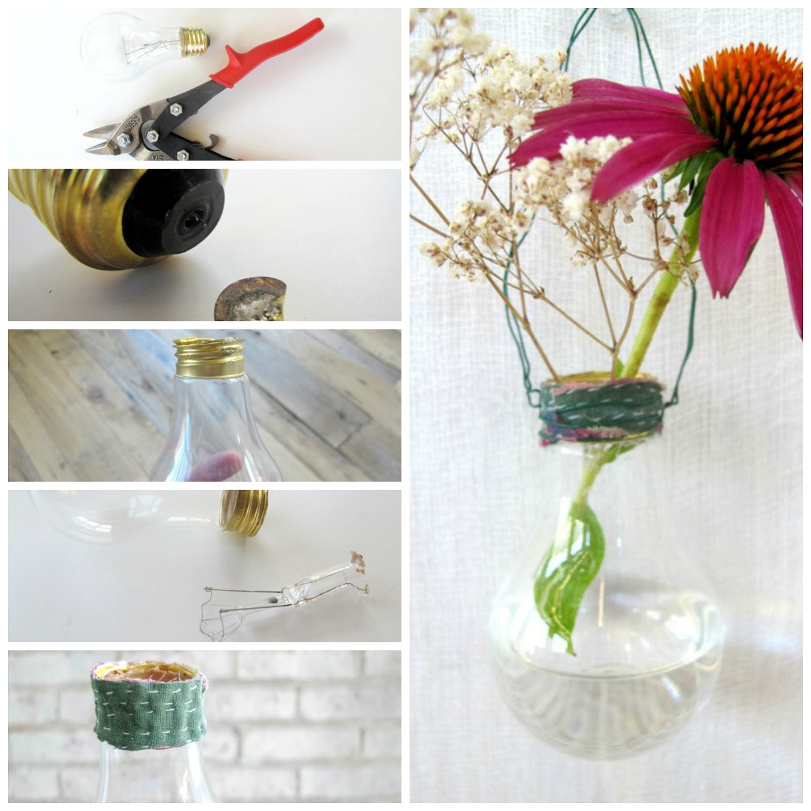 diy upcycled light bulb vase home decor